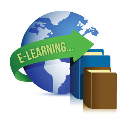 elearning: e learning books and globe illustration design