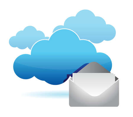 cloud computing mail information illustration design over white Stock Vector - 16259217