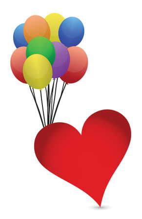 balloons and heart illustration design over white background Stock Vector - 16259224