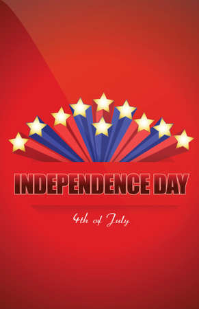 independence day star illustration design over a red background Vector