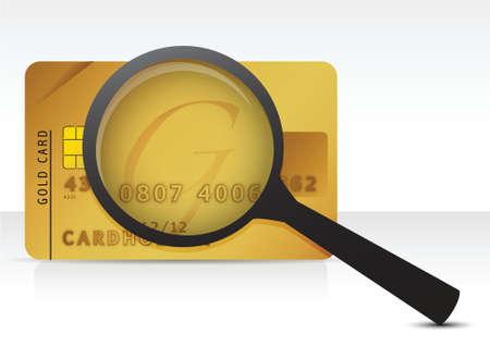 credit card magnifier illustration design over a white background Vector