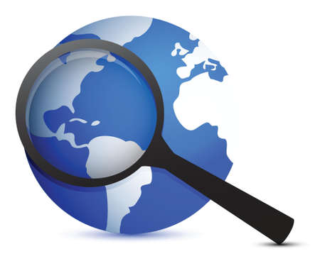 globe and magnifier illustration design over a white background Vector