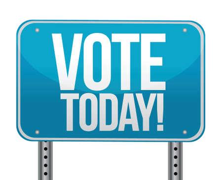 voter registration: Vote today blue sign illustration design over white Illustration