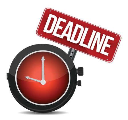 deadline watch sign illustration design over white Illusztráció