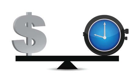 time and money on a balance illustration design over white