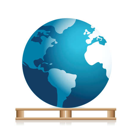 globe on a pallet illustration design over white Ilustração