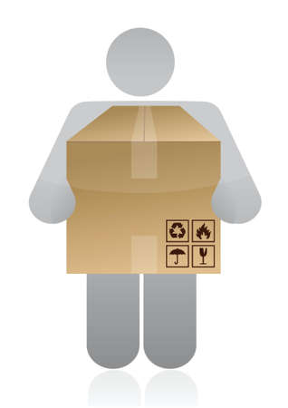 icon carrying a box illustration design over white background Vector