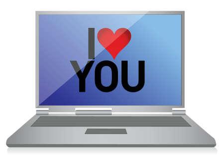 online dating concept laptop illustration design over white Иллюстрация