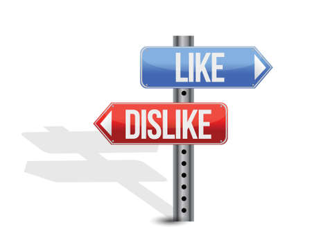 like and dislike sign illustration design over white Vector