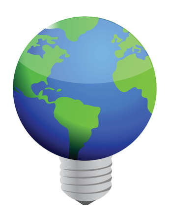 earth lightbulb illustration design over white background Stock Vector - 16259281