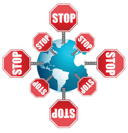 stop sign around the globe illustration design Stock Vector - 16259288