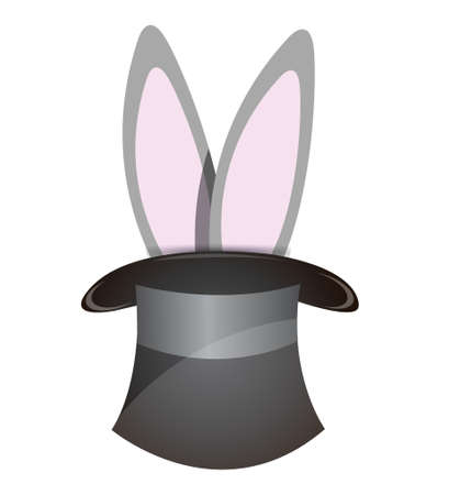 bunny ears: rabbit coming out of a hat illustration design over white Illustration