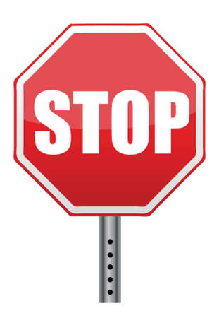 red stop road sign illustration design over white Vector