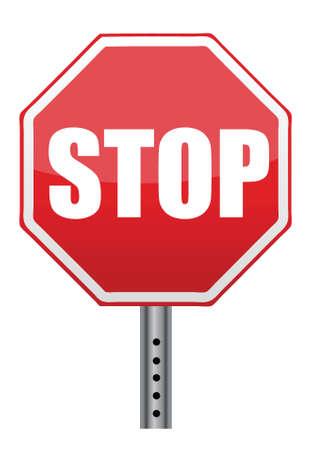 red stop road sign illustration design over white
