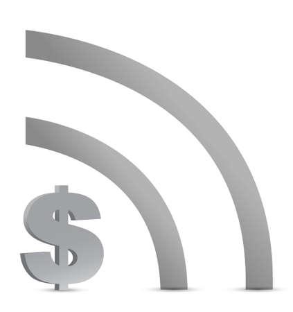 Dollar wifi verbinding teken illustratie ontwerp over wit Stockfoto - 16259280