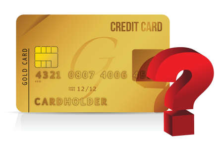 shopping questions: credit card and question mark illustration over white