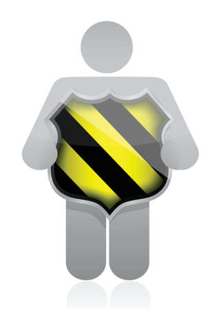 icon holding a security shield over white Stock Vector - 16259292