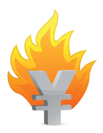 yen crisis illustration design over a white background