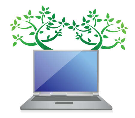 eco tree laptop illustration design over white background