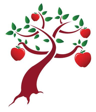식물상: 흰색 배경 위에 사과 나무 그림 디자인