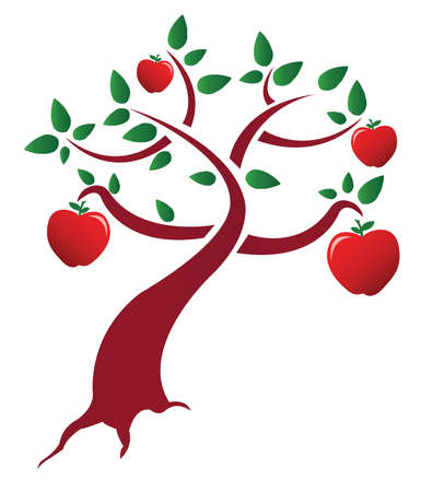 arbol de manzanas: manzano dise�o ilustraci�n sobre un fondo blanco