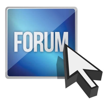 forum button and cursor illustration design over white