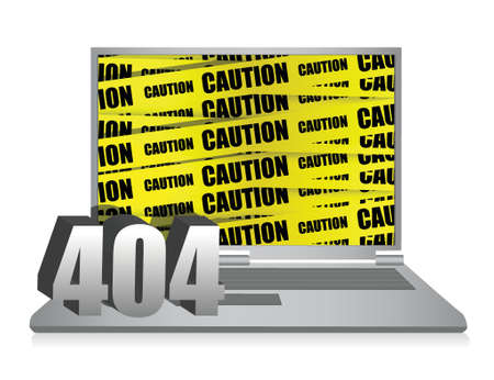 404 error laptop illustration design over white background Vector