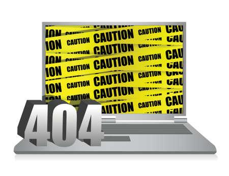 404 error laptop illustration design over white background Stock Vector - 16329685