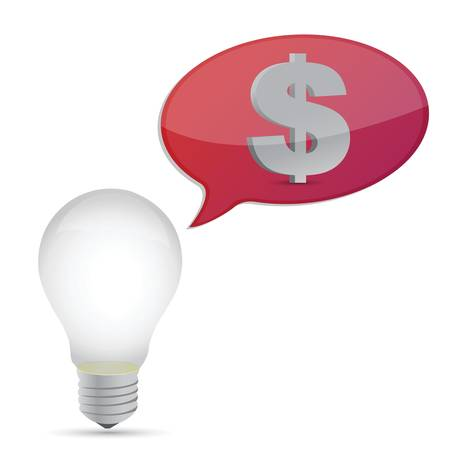 lightbulb money idea illustration design over white background