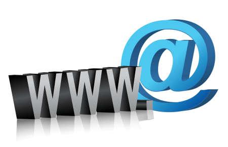 Www internet verbinding mail illustratie ontwerp over wit Stock Illustratie