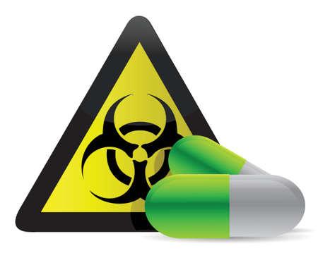 biohazard pills illustration design over white background Stock Vector - 16329675
