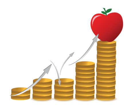 apple and coins graph illustration design over a white background Stock Vector - 16329659