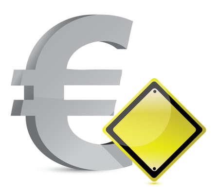 유로는 흰색 위에 노란색 기호 그림 디자인 경고 스톡 콘텐츠 - 16329679