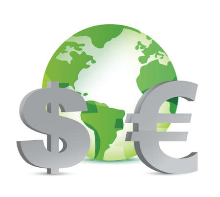currency around the globe illustration design over white Vector