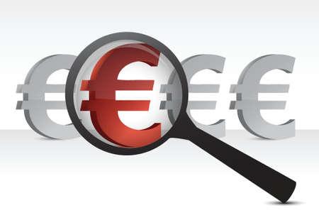 euro under inspection design concept illustration over white