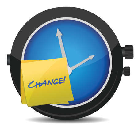 time change: change concept watch and post it illustration design over white
