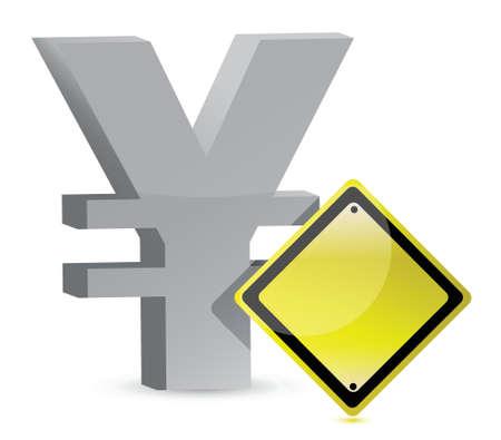 yen warning yellow sign illustration design over white Stock Vector - 16329684