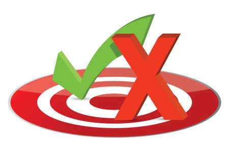 check mary and x mark over a target illustration Vector