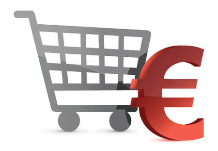 bank cart: euro shopping cart illustration design over white