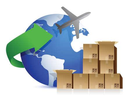 air freight: scatole di spedizione e di design, illustrazione, aereo, sopra, bianco