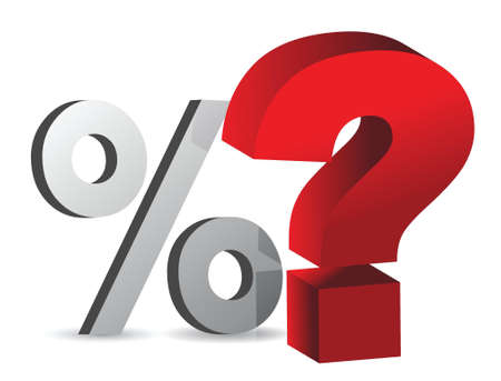 percentage and question mark illustration design over white Vector