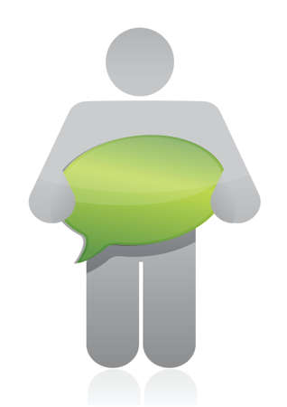 icon holding a message bubble over white background Vector