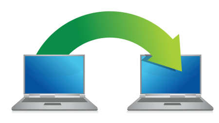 transferring: transferring files from laptop illustration design over a white background