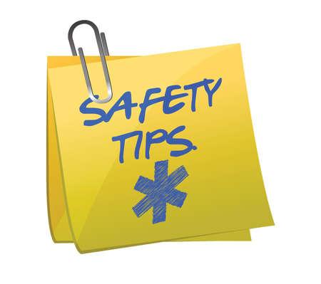tippek: Biztonsági tippek küldd el aláírni illusztráció tervezés alatt fehér