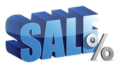 percentage sign: sale and percentage sign text illustration design over white