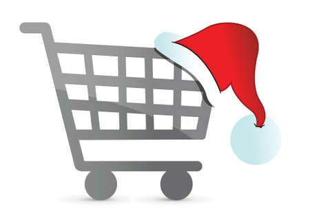 christmas hat on a shopping cart illustration design