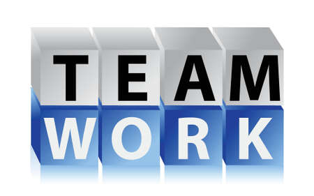 team effort: teamwork cubes illustration design over a white background Illustration