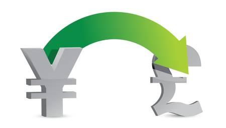 yen to pounds exchange concept illustration design Ilustrace