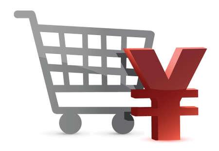 yen and shopping card illustration design over white Illustration