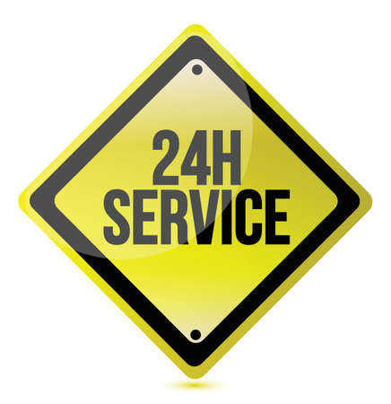 aftersale: 24 hour service yellow sign illustration design over white Illustration